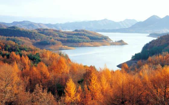 озеро, горы, осень, korea, лес, chungjuho, north, горизонт,