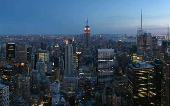 york, new, manhattan, ночь, skyline, город, взгляд