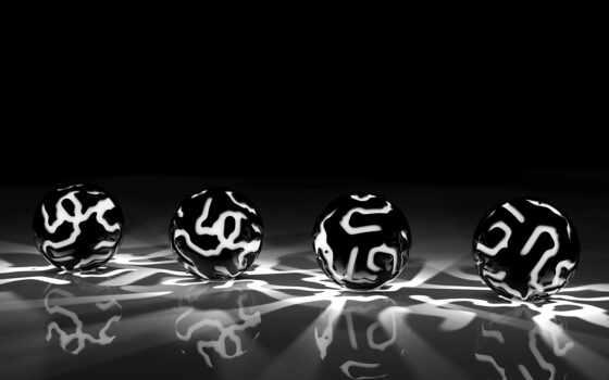 black, white, pattern, мяч, свет, серый, гладь