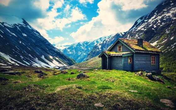 домик, горы