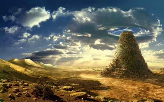 природа, графика, небо, скала, пустыня, арт, камни, duvar, фантастика, картинка,