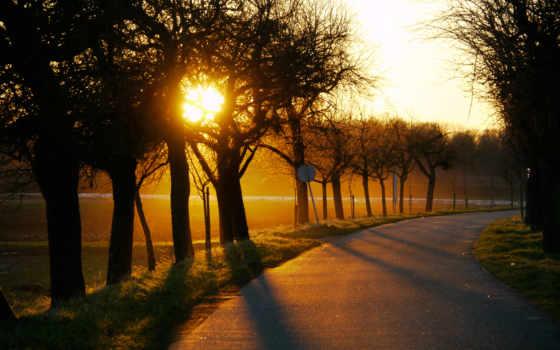 закат, дорога, sun, trees, margin, поворот, солнца, горы, range,
