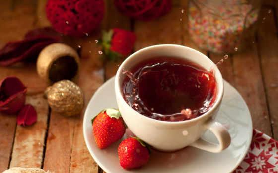 чая, cup, цветы, напиток, клубника, разрешения, брызги, популярные,