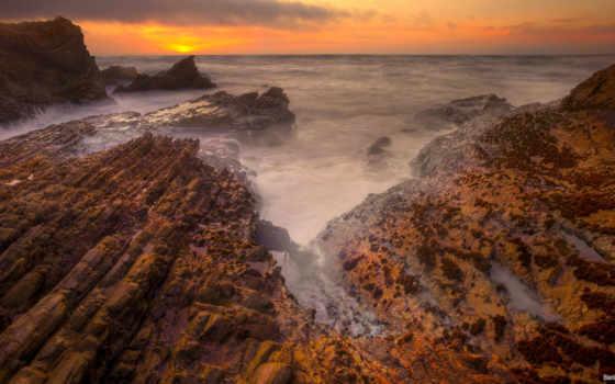 скалы, острые, море, берег, закат, pin, лети, гладь, безмолвие, туман,