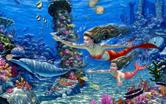 underwater, world, русалки, pisces, дельфины, морское, bottom, кораллы, art,