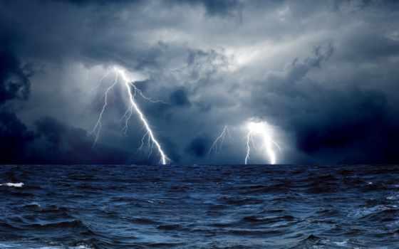 море, ocean, буря, oblaka, природа, lightning, тучи, молнии, water,