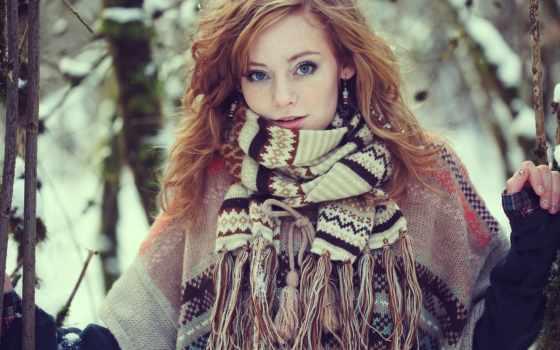 девушка, шарф, winter, devushki, шарфом, лесу, голубоглазая, рыжая,