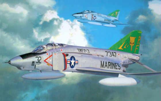 rf, phantom, hasegawa, самолеты, авиация, рисованные, douglas, mcdonnell,
