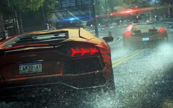 дождь, cars, lamborghini, nfs, скорость, need, wanted,