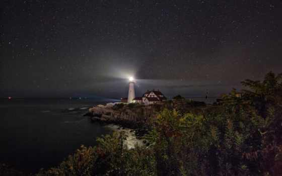 lighthouse, свет, море, ночь, небо, страница, установить, possible, pic, canvas,