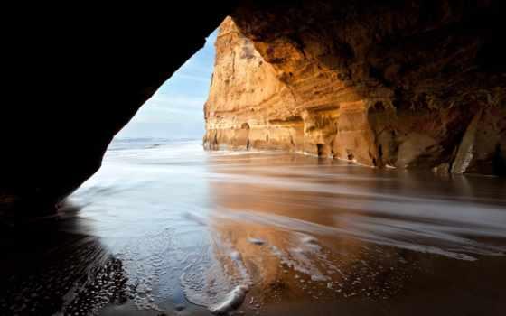 пещера, море, роса, природа, waves, берег, траве, паутине, скале, online,