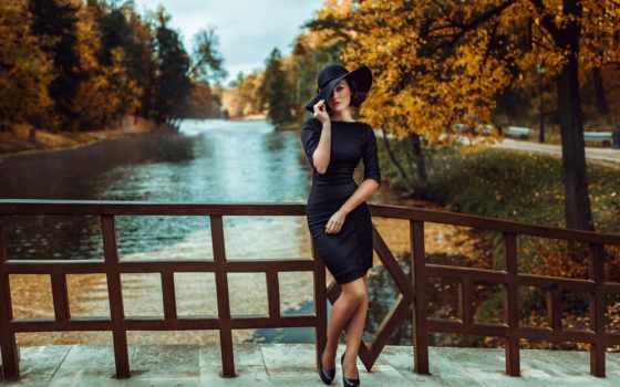 black, платье, девушка, desktop, this, girls, шляпа, resolution,