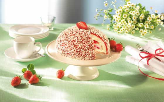 торт, клубника, cvety, ягоды, десерт, chocolate, ромашки, мороженое, white, vanilla, салфетки,