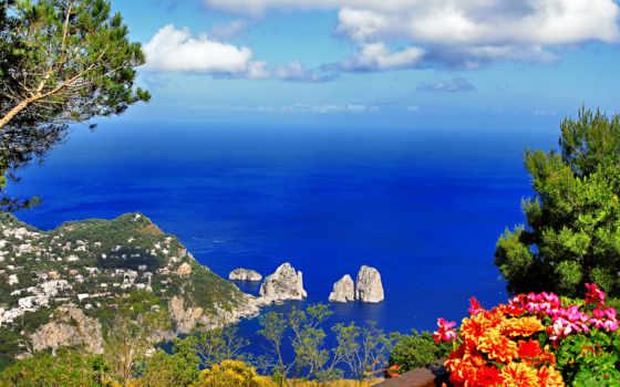 italian, природа, море, горы, italy, capri, красиво, остров, побережье,