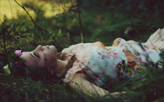 девушка, лежит, траве, цветов, венком, разных, devushki, разрешениях,