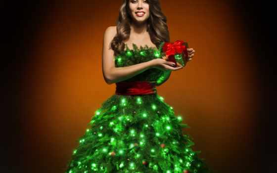 девушка, christmas, платье, xmas, дерево, stock, fotolia, модель, fashion,