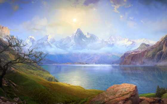 озеро, сказание, league, гора, небо