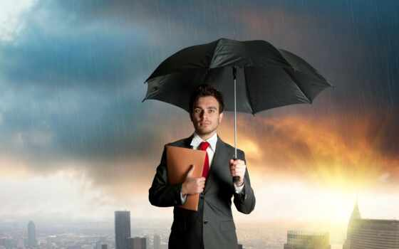зонтик, дождь, парень