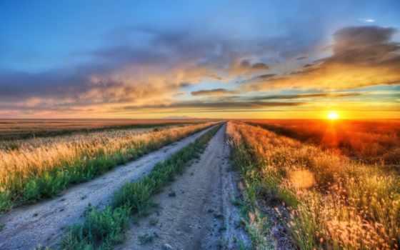 закат, трава, небо