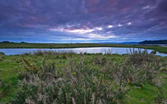 природа, предзакатное, природы, другой, небо, тихая, красивые, заводь, широкоформатные,