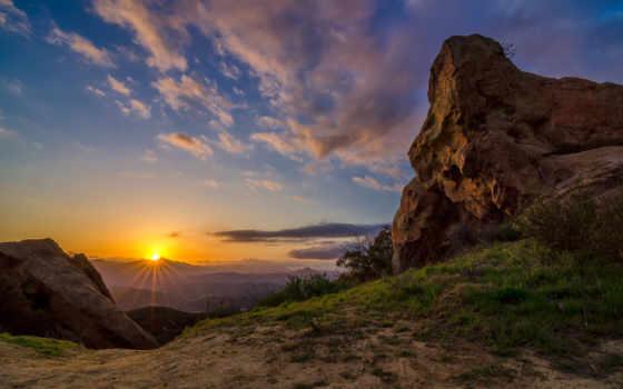 topanga, каньон, california, закат, горы, высоком, bryce, landscape,
