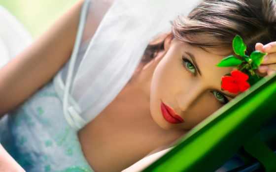 макияж, глаз, зеленые, свет, взгляд, зелёных, шатенка, девушка,