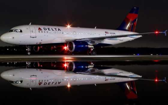 airbus, ночь, белуга, delta, off, самолёт, cockpit, taking, top,