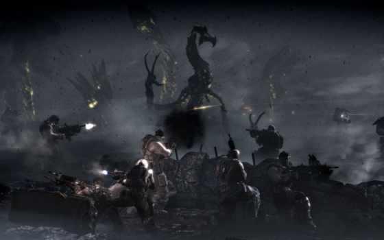 людей, fantasy, драконы, против, широкоформатные, битва, драконы, gears, war, дракон,
