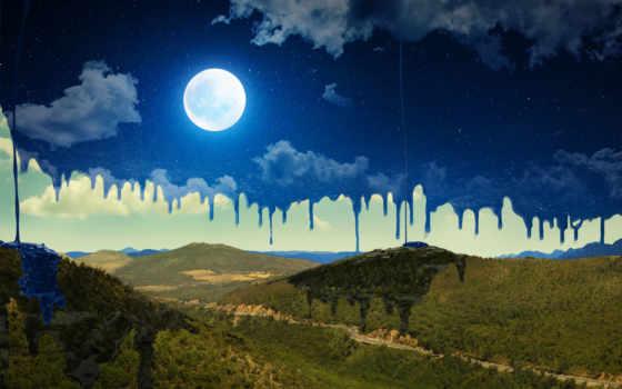 горы, луна, desktop, ночь, abstract, widescreen,