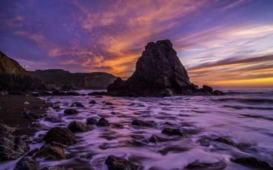 море, розовый, сиреневый, rock, ocean, камень, яркий, закат, landscape, облако