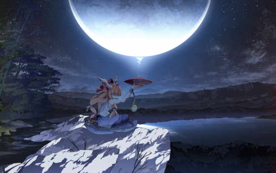 ночь, art, луна, девушка, чаша, witch, камень, asakura, masatoki, озеро, touhou,