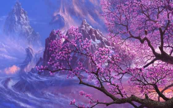 Сакура, fantasy, широкоформатные, горах, природа, дерево, разрешением,