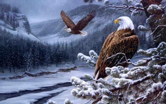 орлан, лысый, живопись, река, eagles, winter, art, paintings, wild, дух, плакат,