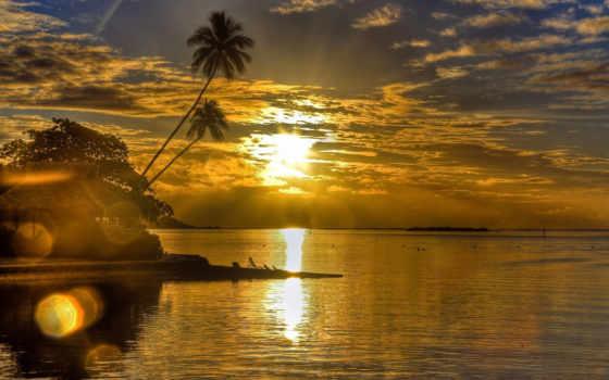 закат, море, пальмы