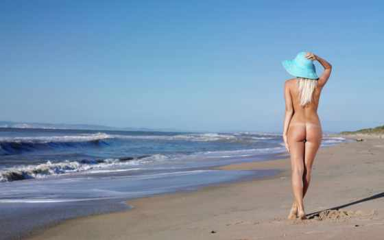 море, девушка, пляж, blonde, шляпа, песок, небо, erotica, нью, тело, блондинки,