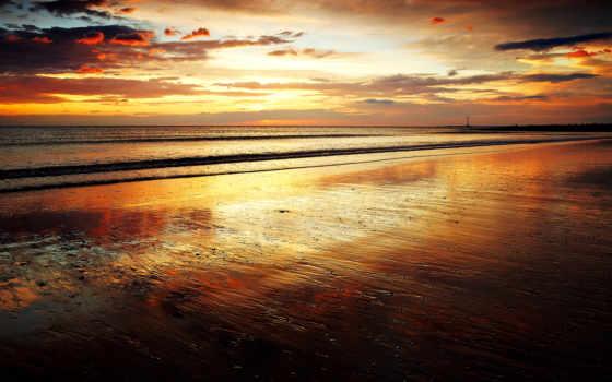 море, пляж, закат, небо, вечер, фоны,
