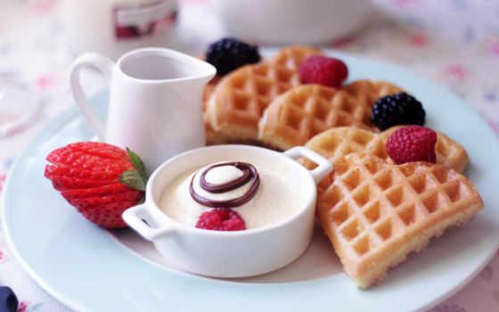 завтрак, еда, десерт, клубника, вафли, ягоды, малина,