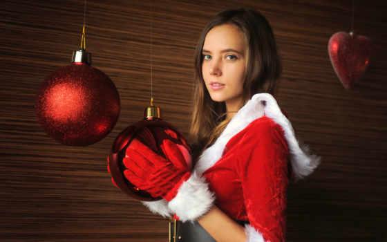new, год, девушка, мяч, встречать, christmas, happy
