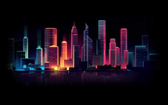 город, картинка, подсветка, ночь, вести, огни, chart, neon, zerkal, лампа, палуба