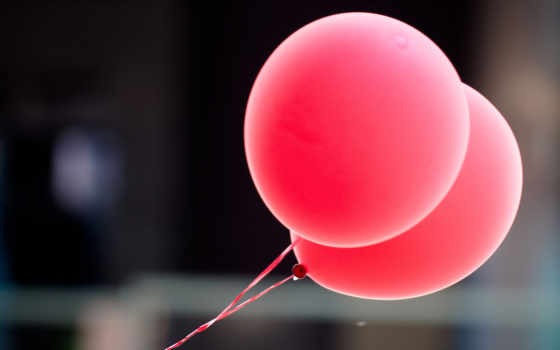 воздушные, шарики, настроение, макро, розовый,