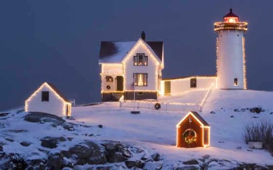 desktop, вечер, landscape, год, lighthouse, christmas, nice, праздник, маяк,