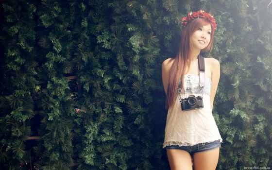 девушка, девушки, азиатка, asian, бренд, фотоаппаратом, camera,