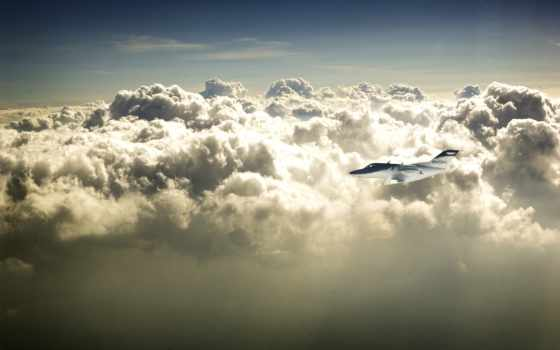 облака, небо, самолёт