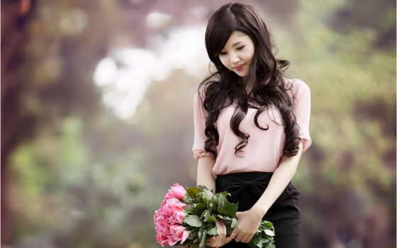 девушка, asian, цветы