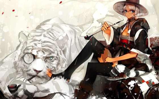 тигр, anime, шляпа