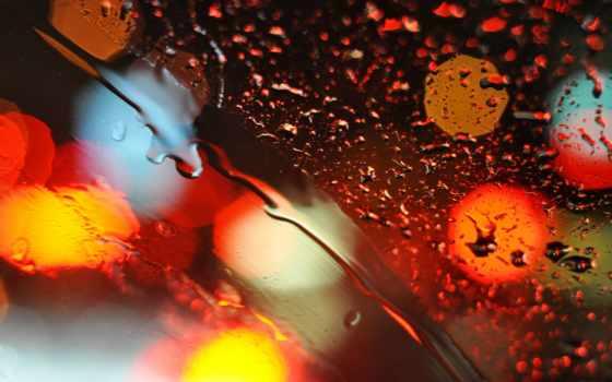 lluvia, agua, cristal, pantalla, gotas, vidrio, fondo, bokeh, luces,