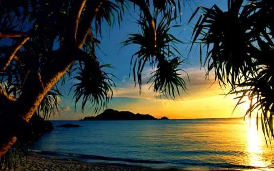 пляж, high, закат, desktop, tropical, ocean, resolution,