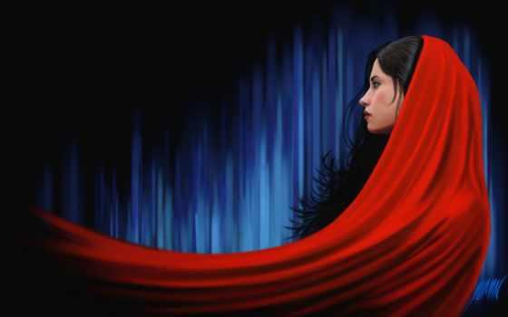 девушка, art, profile, красное, cape, ткань, arash, salehe, shoushtari,
