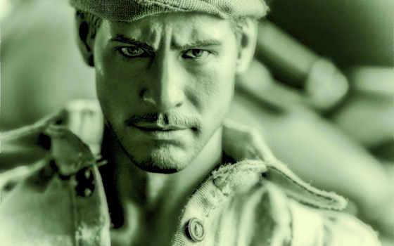 парень, шапка, portrait, обработка, tapety,