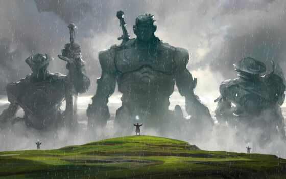 гигант, fantasy, дождь, art, artwork, wizard, взгляд, сказание, воин, магия, рисунок